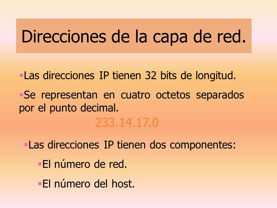 Direcciones de la capa de red.