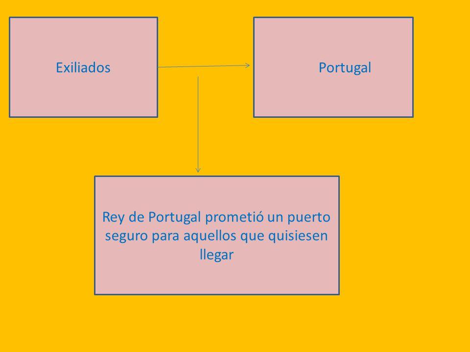 Exiliados Portugal Rey de Portugal prometió un puerto seguro para aquellos que quisiesen llegar