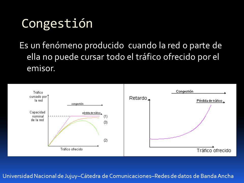 Congestión Es un fenómeno producido cuando la red o parte de ella no puede cursar todo el tráfico ofrecido por el emisor.