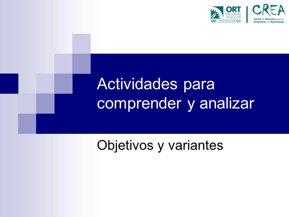 Actividades para comprender y analizar