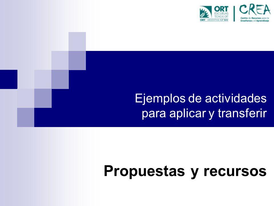 Ejemplos de actividades para aplicar y transferir