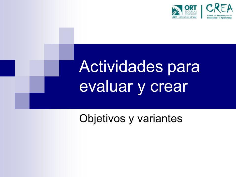 Actividades para evaluar y crear