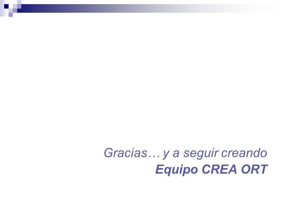 Gracias… y a seguir creando Equipo CREA ORT