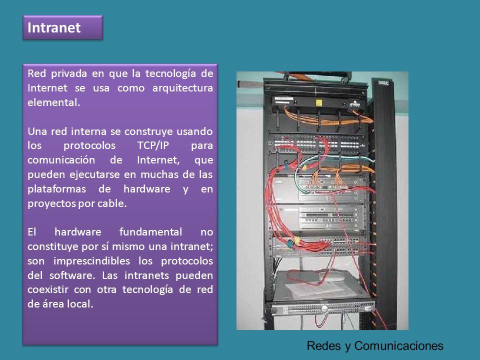 Intranet Red privada en que la tecnología de Internet se usa como arquitectura elemental.