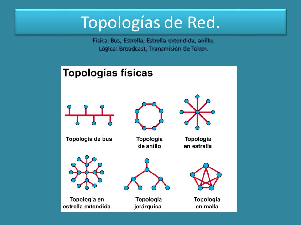 Topologías de Red. Física: Bus, Estrella, Estrella extendida, anillo.