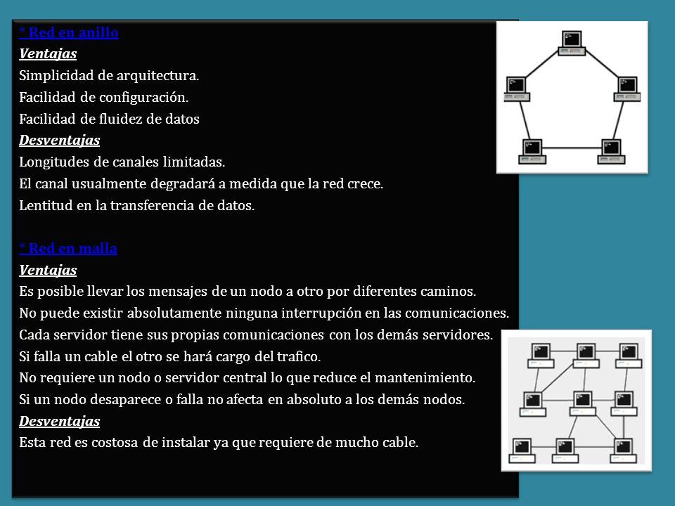 * Red en anillo Ventajas. Simplicidad de arquitectura. Facilidad de configuración. Facilidad de fluidez de datos.