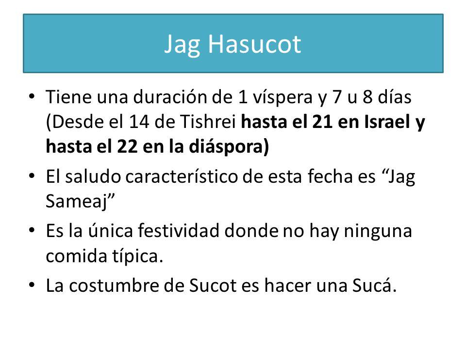 Jag Hasucot Tiene una duración de 1 víspera y 7 u 8 días (Desde el 14 de Tishrei hasta el 21 en Israel y hasta el 22 en la diáspora)