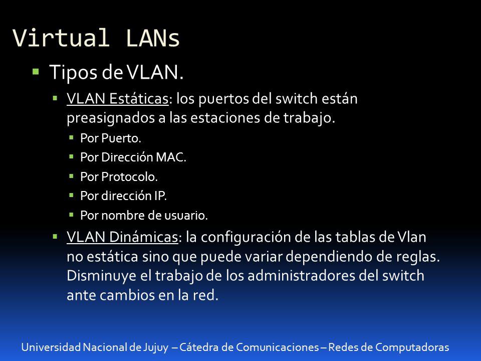 Virtual LANs Tipos de VLAN.