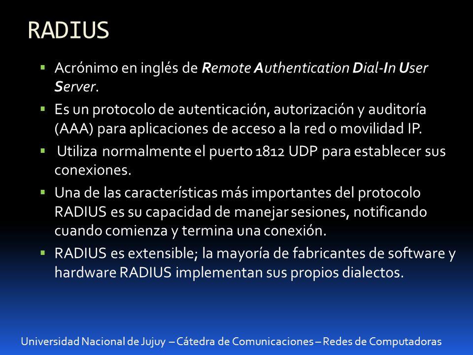 RADIUS Acrónimo en inglés de Remote Authentication Dial-In User Server.