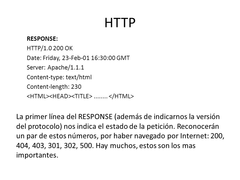 HTTP RESPONSE: HTTP/1.0 200 OK. Date: Friday, 23-Feb-01 16:30:00 GMT. Server: Apache/1.1.1. Content-type: text/html.