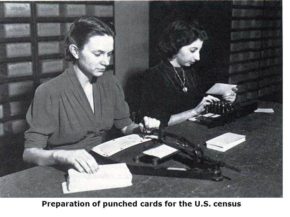 Preparation of punched cards for the U.S. census