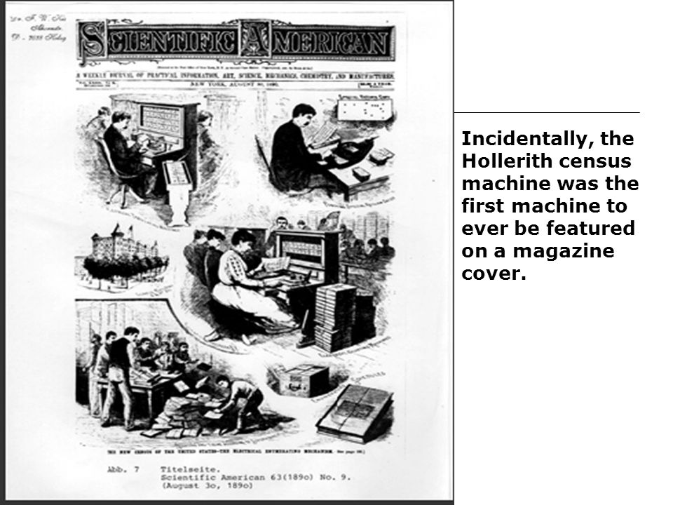 Incidentally, the Hollerith census machine was the first machine to ever be featured on a magazine cover.
