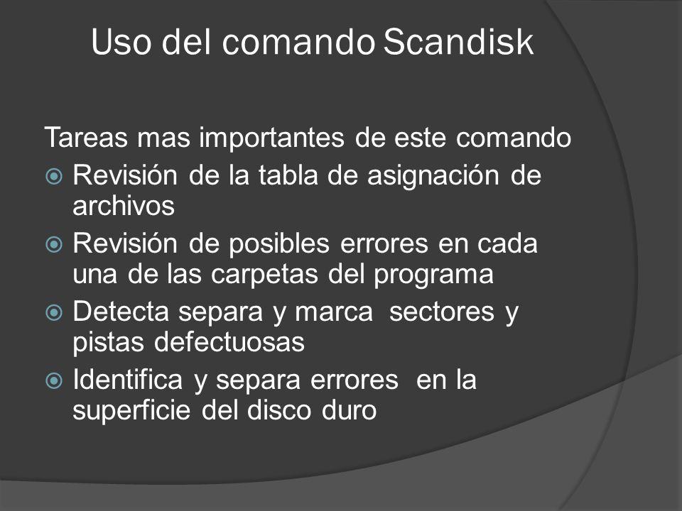 Uso del comando Scandisk