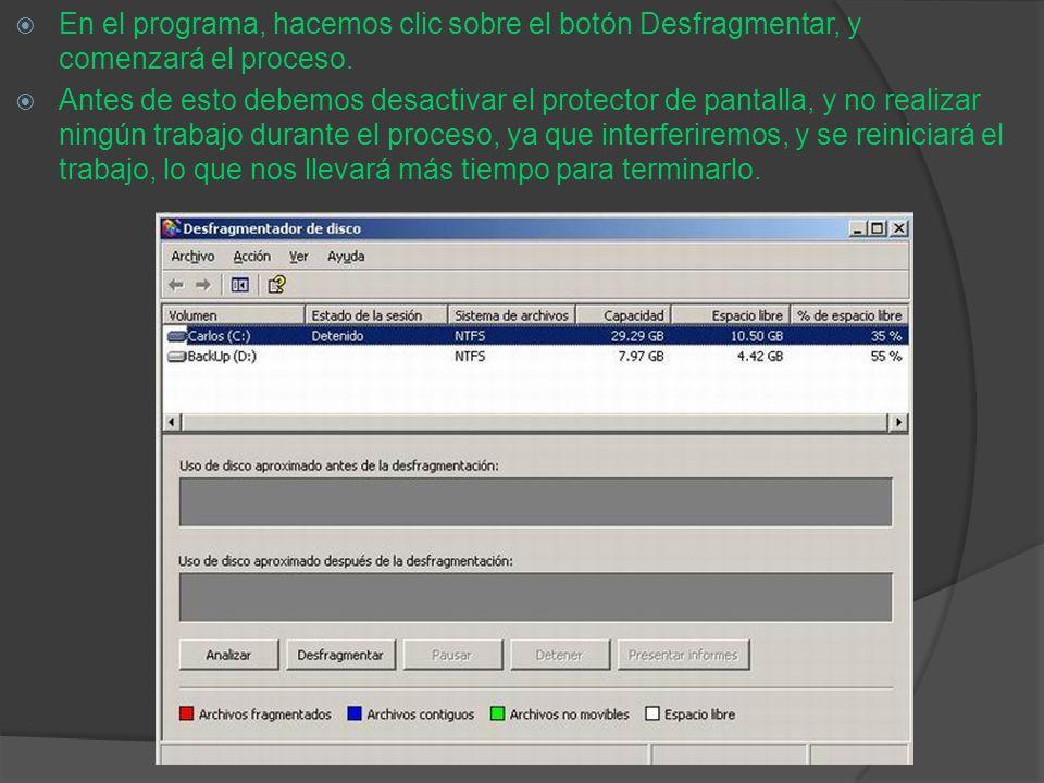 En el programa, hacemos clic sobre el botón Desfragmentar, y comenzará el proceso.