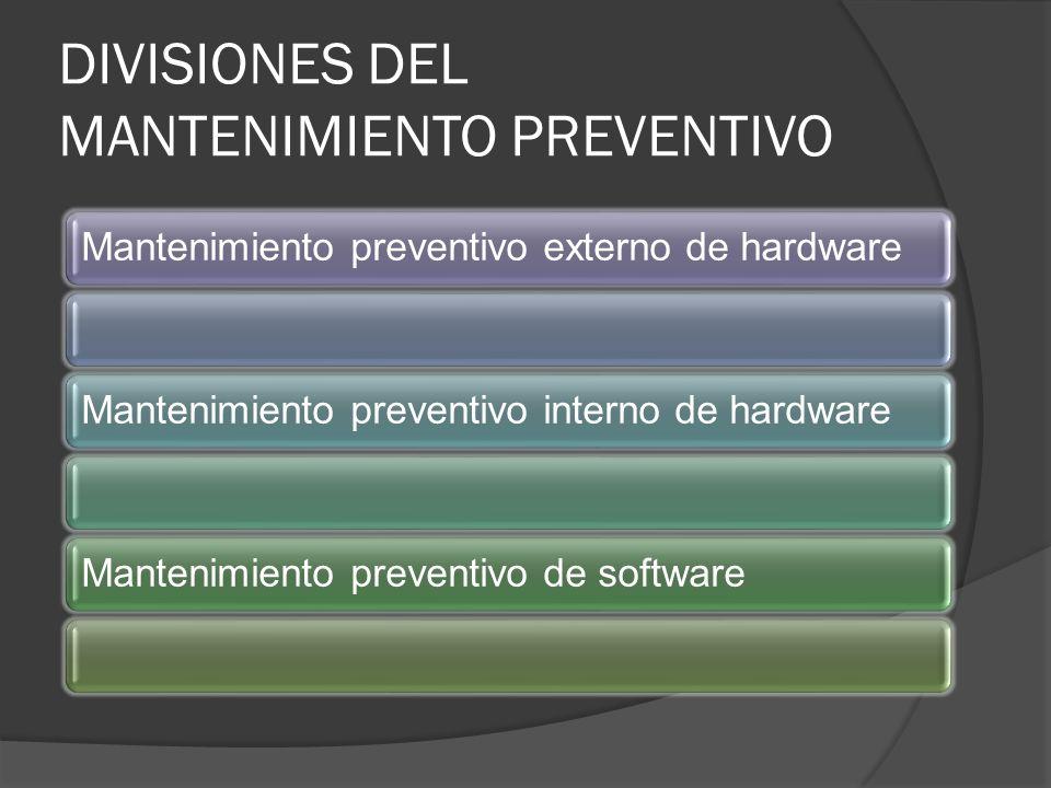 DIVISIONES DEL MANTENIMIENTO PREVENTIVO