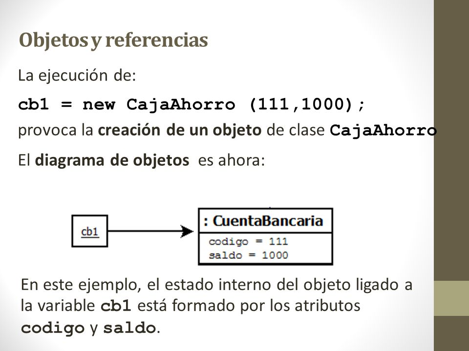 Objetos y referencias La ejecución de: