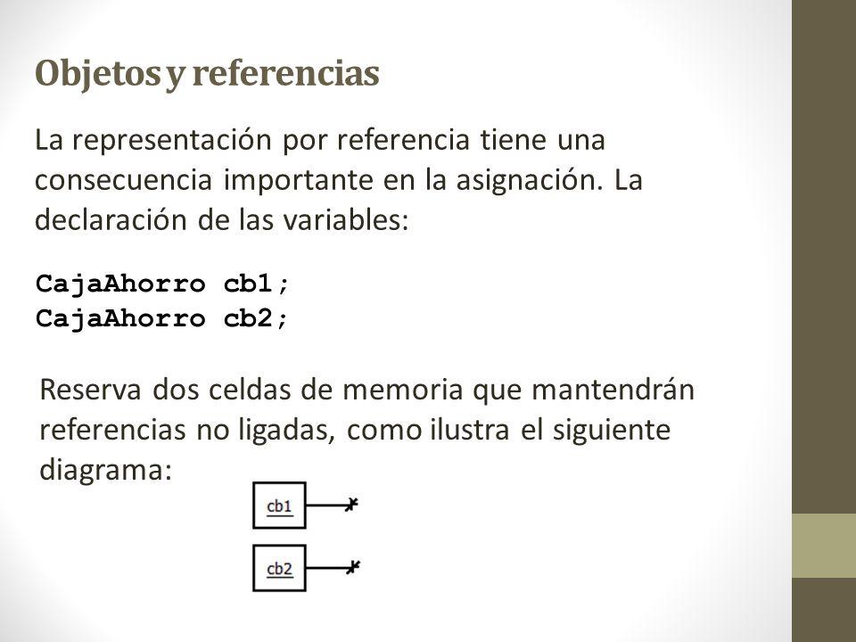 Objetos y referencias La representación por referencia tiene una consecuencia importante en la asignación. La declaración de las variables: