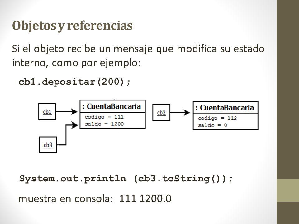Objetos y referencias Si el objeto recibe un mensaje que modifica su estado interno, como por ejemplo: