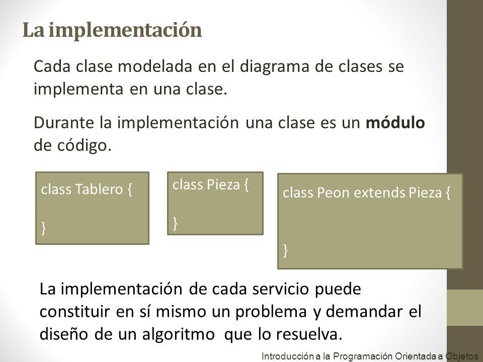 La implementación Cada clase modelada en el diagrama de clases se implementa en una clase.