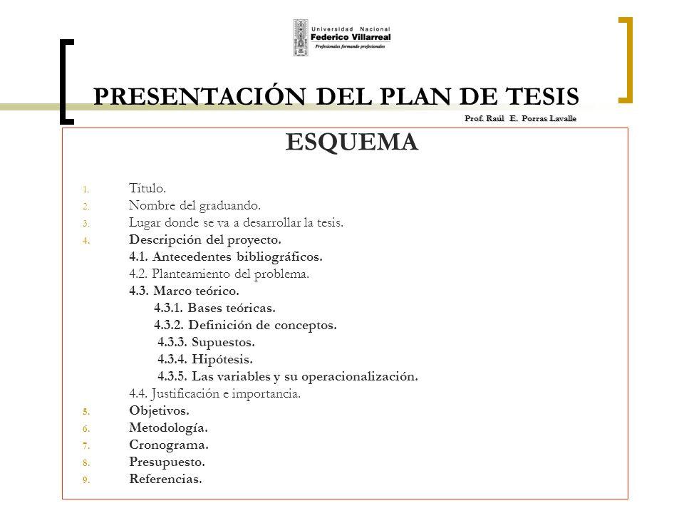 PRESENTACIÓN DEL PLAN DE TESIS Prof. Raúl E. Porras Lavalle