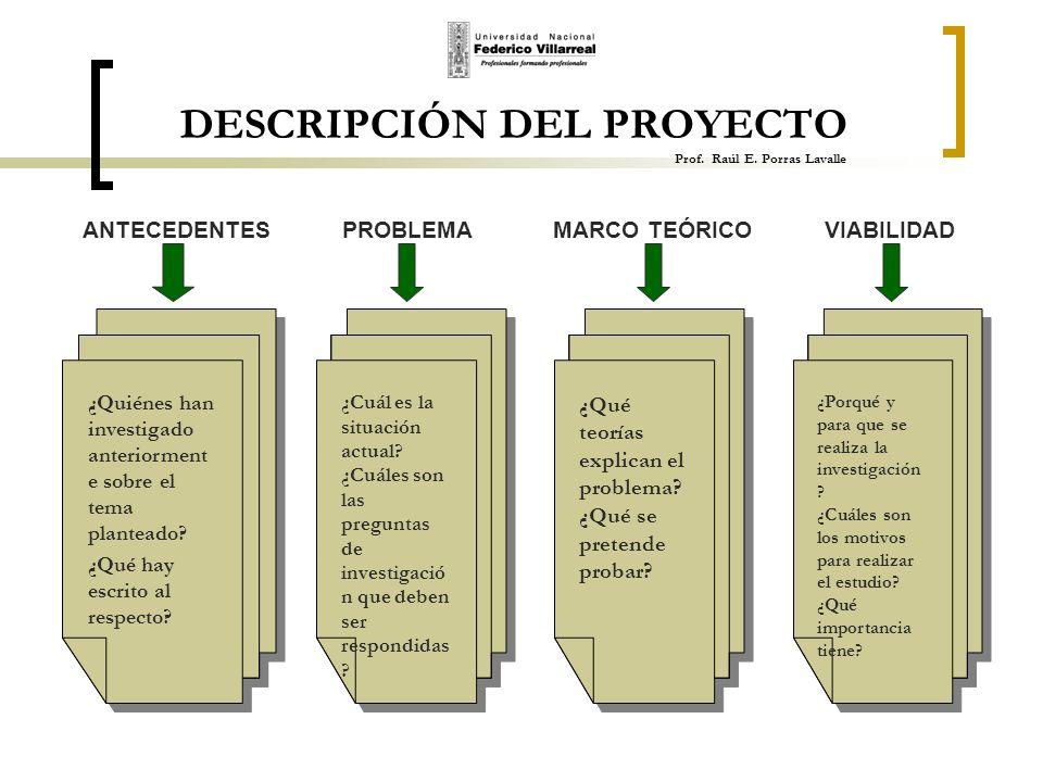 DESCRIPCIÓN DEL PROYECTO Prof. Raúl E. Porras Lavalle