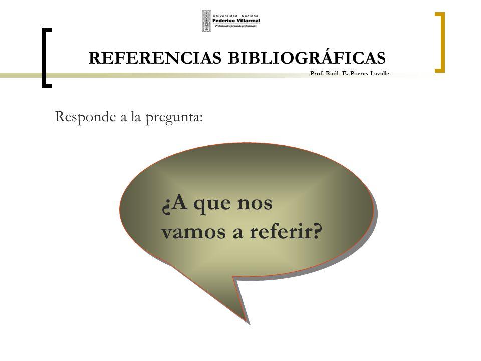 REFERENCIAS BIBLIOGRÁFICAS Prof. Raúl E. Porras Lavalle
