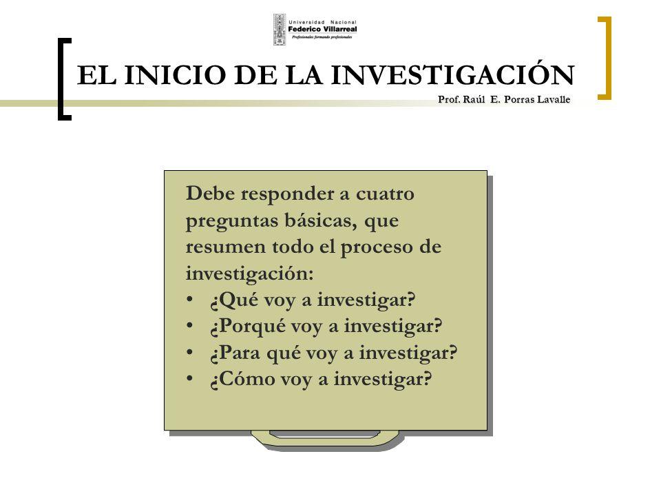 EL INICIO DE LA INVESTIGACIÓN Prof. Raúl E. Porras Lavalle