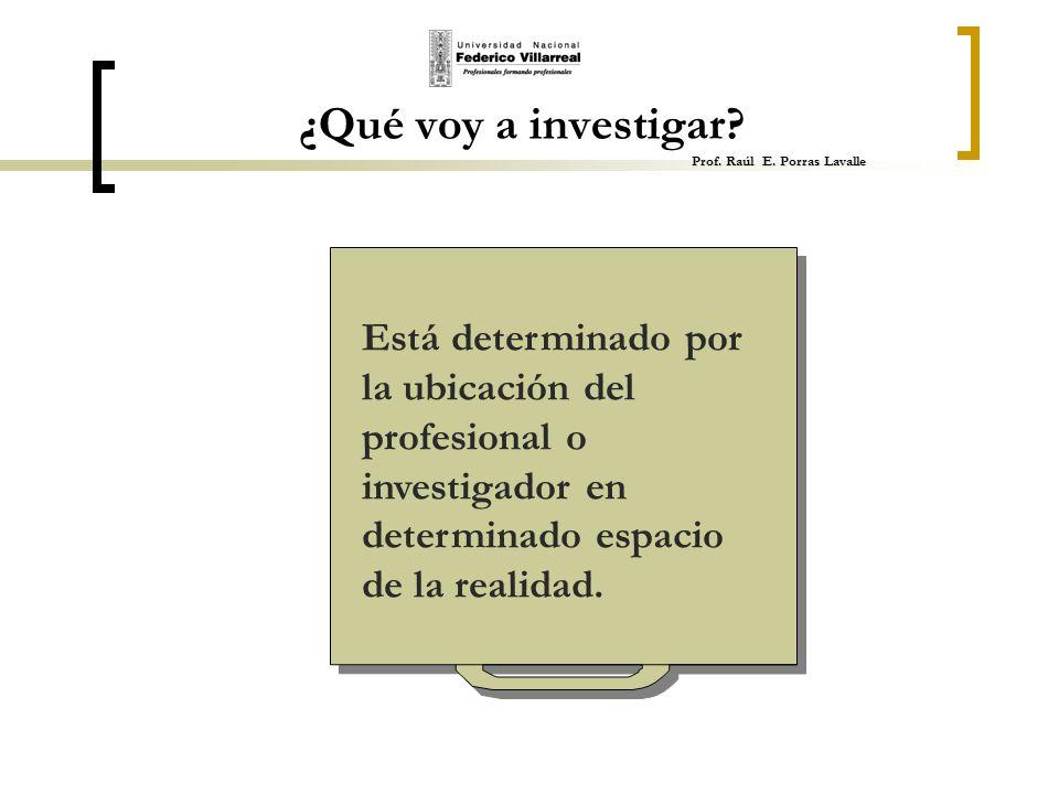 ¿Qué voy a investigar Prof. Raúl E. Porras Lavalle
