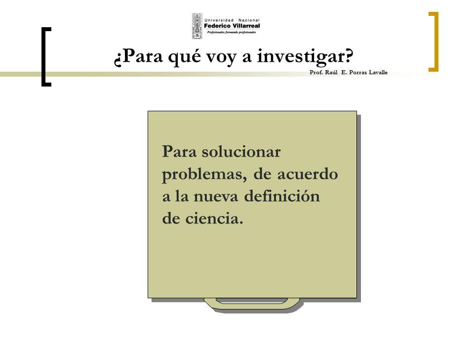 ¿Para qué voy a investigar Prof. Raúl E. Porras Lavalle