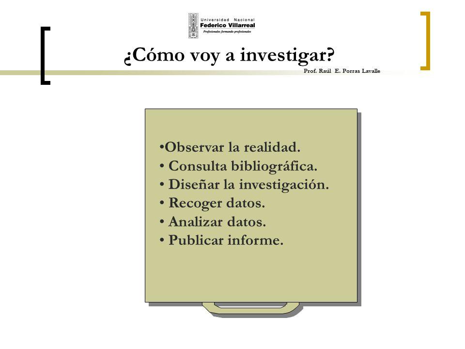 ¿Cómo voy a investigar Prof. Raúl E. Porras Lavalle