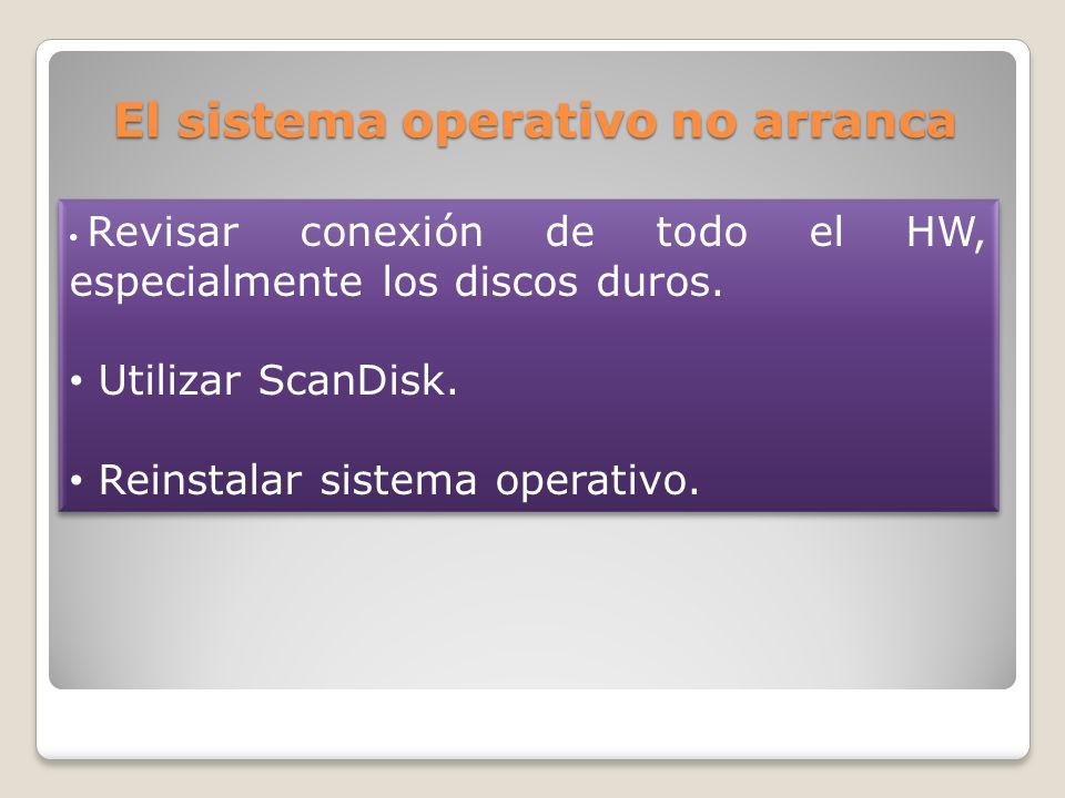 El sistema operativo no arranca