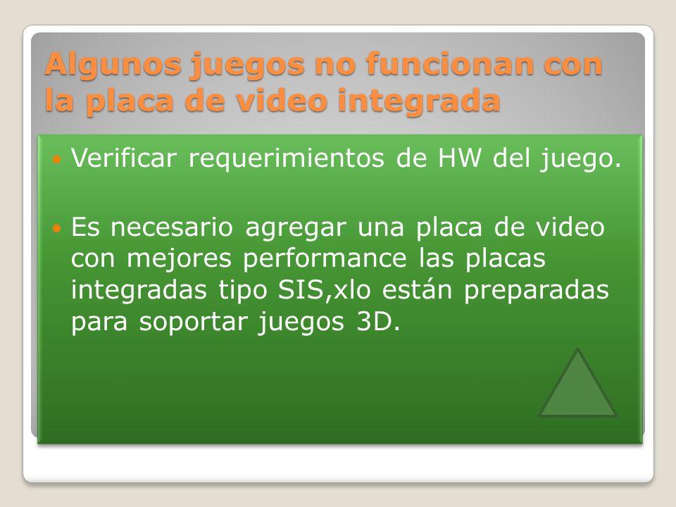 Algunos juegos no funcionan con la placa de video integrada