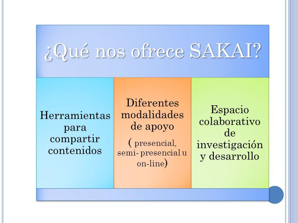 ¿Qué nos ofrece SAKAI Diferentes modalidades de apoyo