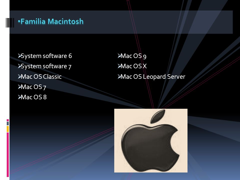 Familia Macintosh System software 6 Mac OS 9 System software 7