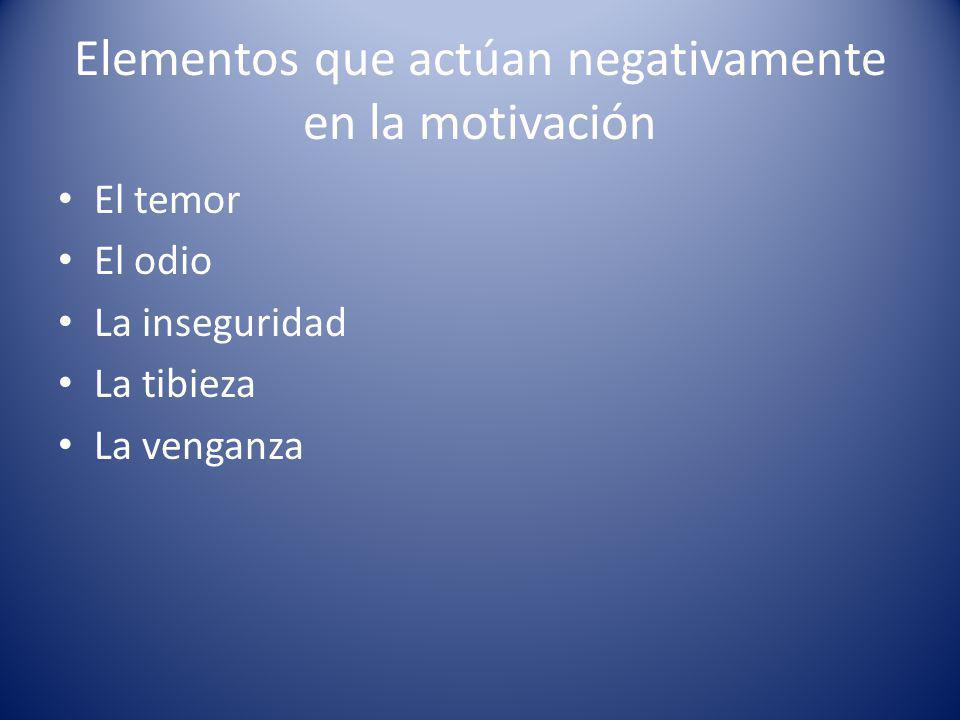 Elementos que actúan negativamente en la motivación