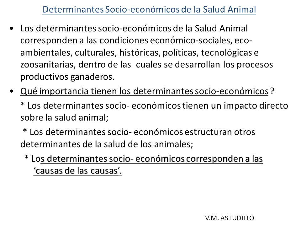 Determinantes Socio-económicos de la Salud Animal