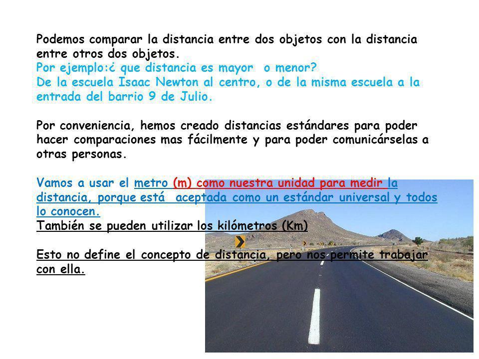 Podemos comparar la distancia entre dos objetos con la distancia entre otros dos objetos.