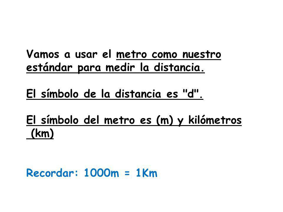 Vamos a usar el metro como nuestro estándar para medir la distancia.
