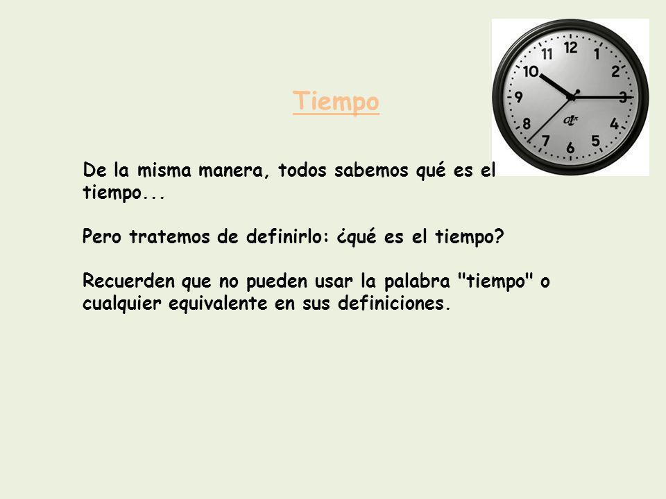 Tiempo De la misma manera, todos sabemos qué es el tiempo...