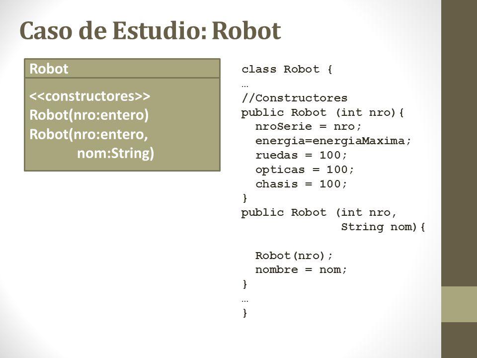 Caso de Estudio: Robot Robot <<constructores>>