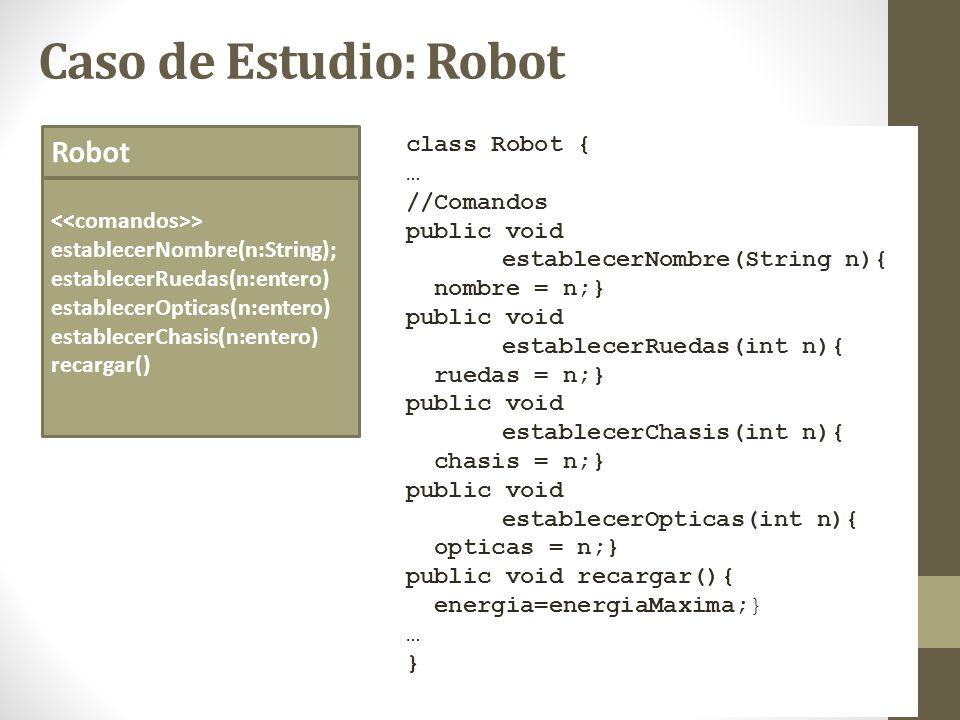 Caso de Estudio: Robot Robot class Robot { … //Comandos public void