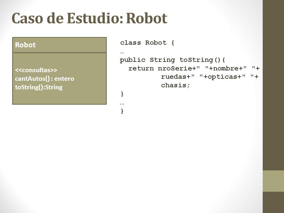 Caso de Estudio: Robot Robot class Robot { … public String toString(){