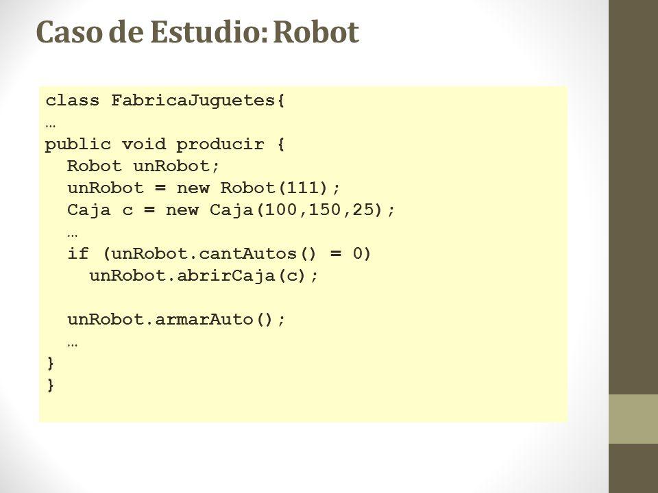 Caso de Estudio: Robot class FabricaJuguetes{ … public void producir {