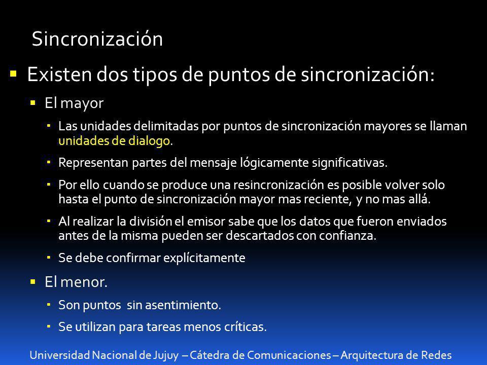 Existen dos tipos de puntos de sincronización: