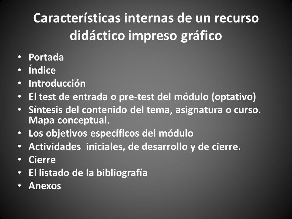 Características internas de un recurso didáctico impreso gráfico