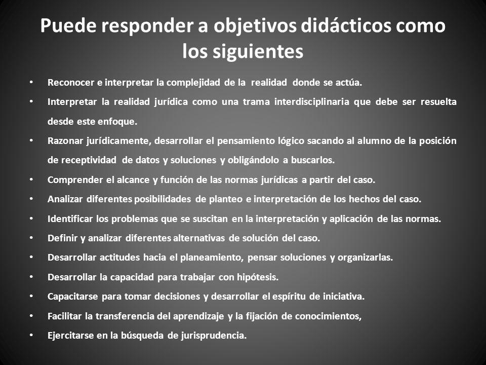 Puede responder a objetivos didácticos como los siguientes