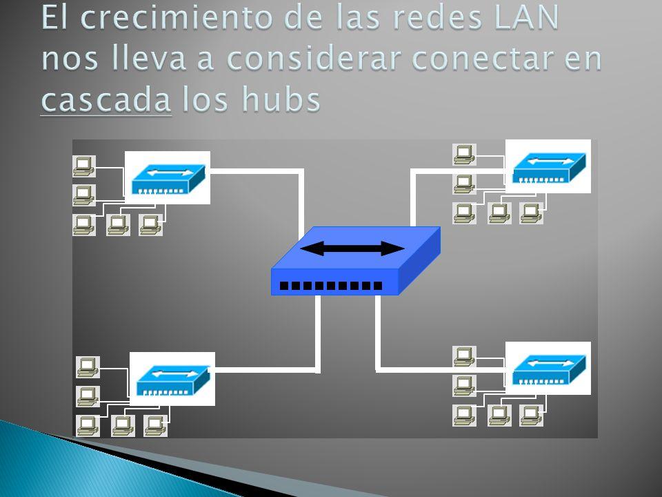 El crecimiento de las redes LAN nos lleva a considerar conectar en cascada los hubs