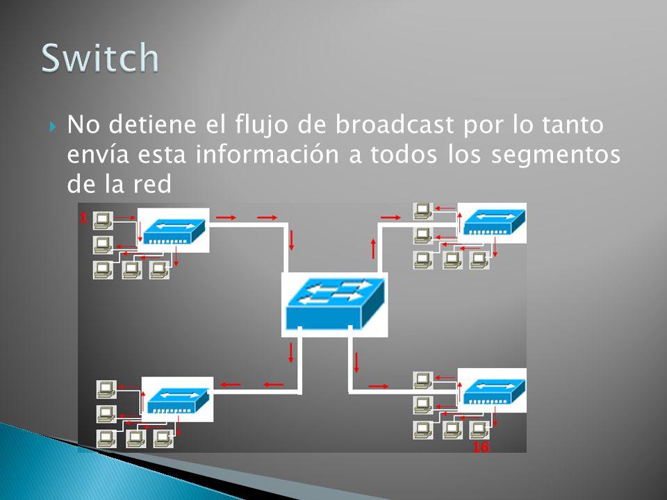 Switch No detiene el flujo de broadcast por lo tanto envía esta información a todos los segmentos de la red.