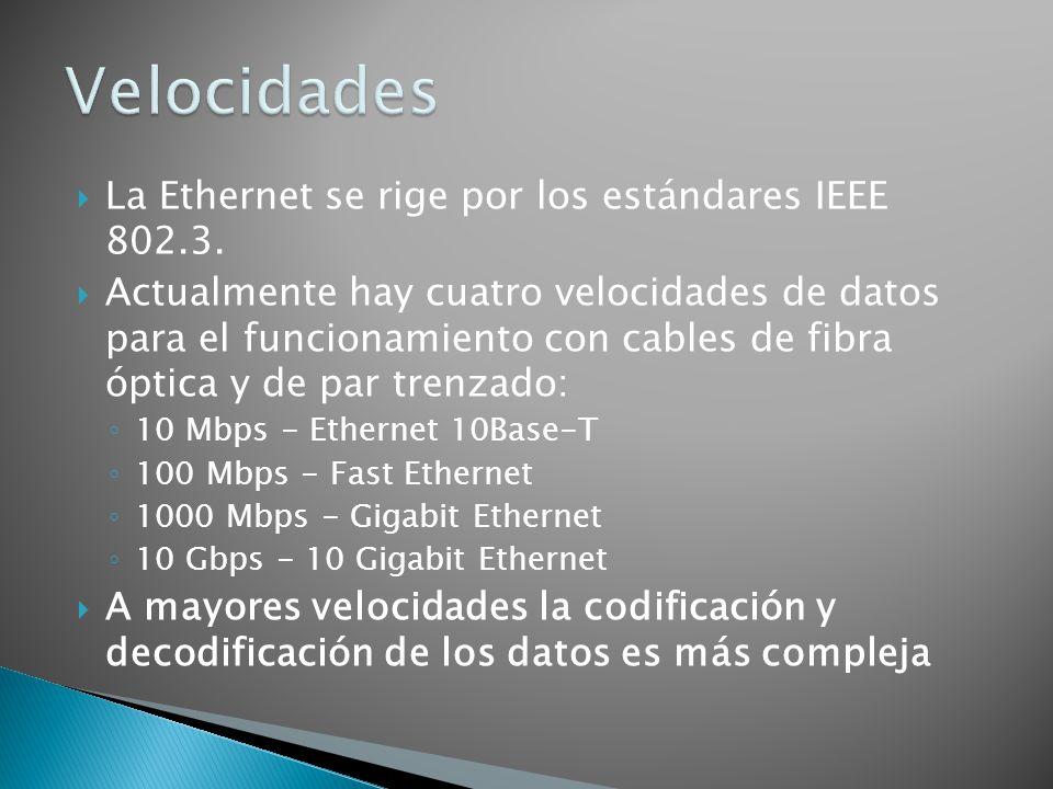 Velocidades La Ethernet se rige por los estándares IEEE 802.3.
