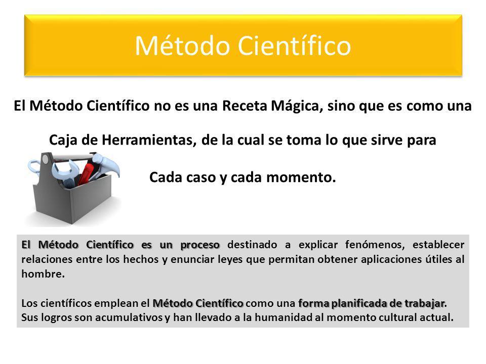 Método Científico El Método Científico no es una Receta Mágica, sino que es como una. Caja de Herramientas, de la cual se toma lo que sirve para.
